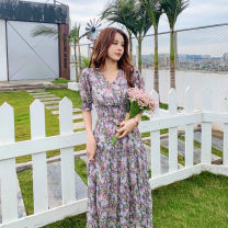 Dress Summer 2021 Purple and blue Chrysanthemum S,M,L,XL Miniskirt singleton  Long sleeves Sweet V-neck Elastic waist Decor double-breasted other Lotus leaf sleeve Others Type A Splicing 81% (inclusive) - 90% (inclusive) Chiffon polyester fiber princess