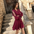 Dress Spring 2021 claret S,M,L Short skirt singleton  Long sleeves commute V-neck middle-waisted Solid color Socket A-line skirt pagoda sleeve Others 18-24 years old Type A lady Flounce, hollow, three-dimensional decoration, mesh, lace 81% (inclusive) - 90% (inclusive) polyester fiber