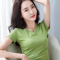 T-shirt Green, white, black, brown, black and white bar, red bar, blue bar S,M,L,XL,2XL Summer 2021 Short sleeve V-neck Self cultivation Regular routine commute cotton 96% and above Korean version classic Pinstripe, solid, color block Sderl / sundel TJSY-TX8914-19