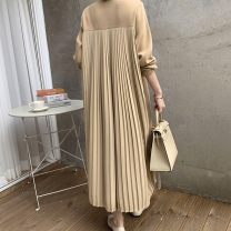 Dress Autumn 2020 Yellow, green, blue Average size longuette singleton  Long sleeves commute Crew neck Loose waist Socket other routine Others 18-24 years old Type H Korean version 31% (inclusive) - 50% (inclusive) other other