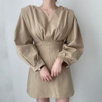 Dress Summer 2020 Light beige, Dark Beige Average size Middle-skirt singleton  Long sleeves commute V-neck High waist Solid color Socket A-line skirt bishop sleeve Others 18-24 years old Type A Other / other Retro fold 71% (inclusive) - 80% (inclusive)