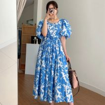 Dress Summer 2020 Blue, black Average size longuette singleton  Short sleeve commute square neck High waist Decor puff sleeve 18-24 years old Other / other Korean version