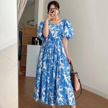 Dress Summer 2020 Blue, black Average size longuette singleton  Short sleeve commute square neck High waist Decor puff sleeve 18-24 years old Other / other Korean version