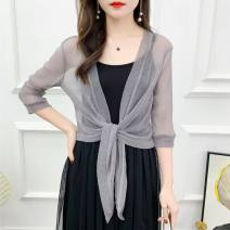 Lace / Chiffon Summer 2020 Silver grey, silver coffee, silver white, silver red, Silver Purple, silver black, silver blue, silver green, silver apricot M (recommended 80-105 kg), l (recommended 105-128 kg), XL (recommended 128-150 kg), 2XL (recommended 150-175 kg) elbow sleeve Versatile Cardigan easy