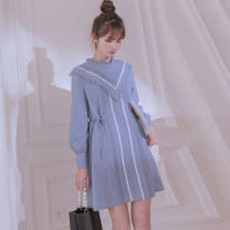 Dress Summer 2021 Harbour clear water blue S,XL,L,M Short skirt singleton  Long sleeves commute V-neck High waist Solid color other A-line skirt routine Others 18-24 years old Type A Other / other Korean version A-line skirt 51% (inclusive) - 70% (inclusive) other polyester fiber