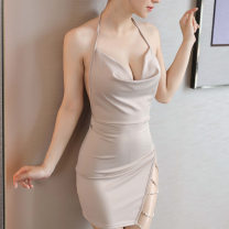 Dress Summer 2020 Black, red, khaki S,M,L Short skirt singleton  Sleeveless commute V-neck middle-waisted Solid color Socket One pace skirt other Hanging neck style 25-29 years old Type H Simplicity Open back, chain 81% (inclusive) - 90% (inclusive) other Lycra Lycra