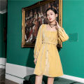 Dress Autumn of 2019 Yellow, black S, M Middle-skirt singleton  Long sleeves square neck High waist Other / other