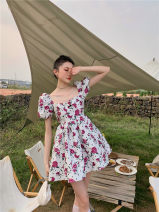 Dress Spring 2021 Decor S,M,L longuette singleton  Long sleeves commute One word collar High waist Decor Socket A-line skirt camisole 25-29 years old Type A printing polyester fiber