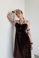 Dress Autumn 2020 coffee S,M,L longuette singleton  Long sleeves commute V-neck High waist Solid color Socket A-line skirt routine 25-29 years old Type A Retro Splicing 81% (inclusive) - 90% (inclusive) velvet polyester fiber
