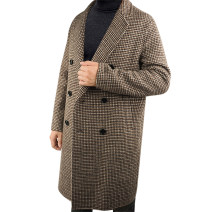 woolen coat brown S,M,L,XL,2XL Devout friend Fashion City Wool 100% Cashmere Medium length go to work Self cultivation youth tailored collar double-breasted Exquisite Korean style houndstooth  Cloth hem autumn Mingji thread patch bag wool other other More than 95%