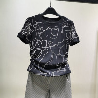 T-shirt Decor S,M,L,XL,2XL,3XL,4XL Summer 2021 Short sleeve Crew neck Self cultivation Regular routine commute nylon 96% and above lady other Geometric pattern Pinge Dixin Screen printing