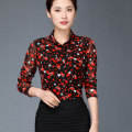 shirt Decor S,M,L,XL,2XL,3XL,4XL Spring 2021 nylon 96% and above Long sleeves commute Regular Polo collar Single row multi button routine Broken flowers 40-49 years old Self cultivation Pinge Dixin lady