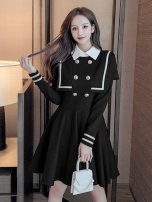 Dress Spring 2021 Black, white 2 / s, 3 / m, 4 / L, 5 / XL Mid length dress singleton  Long sleeves commute Polo collar High waist Solid color zipper A-line skirt routine Others Type A Brother amashi Button, button More than 95% polyester fiber