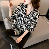 shirt Black and white stripes 2 / s, 3 / m, 4 / L, 5 / XL Spring 2021 silk 96% and above Long sleeves commute Regular square neck Single row multi button routine stripe Straight cylinder Brother amashsin Chiffon