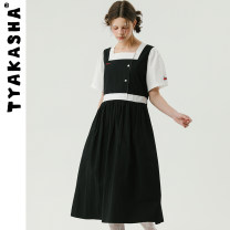 Dress Summer 2021 Black pre-sale May 20 delivery S M L longuette Fake two pieces Short sleeve commute middle-waisted Solid color Socket other routine 18-24 years old Type A TYAKASHA Simplicity T21XQYT026 More than 95% cotton Cotton 100%