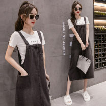 Dress Summer 2021 Black grey, light blue, blue grey, (gift for collection and purchase), black grey (loose fishtail) longuette commute Loose waist straps Korean version pocket Denim