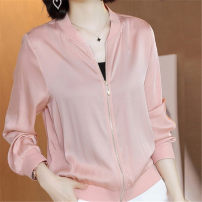 short coat Summer 2020 M,L,XL,2XL,3XL Blue, pink, white with hat, pink with hat Long sleeves routine Thin money singleton  Straight cylinder street routine stand collar zipper Other / other