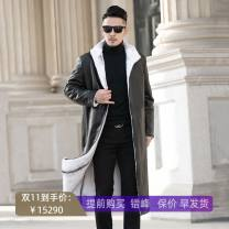 leather clothing Others Business gentleman white 170/84A,175/88A,180/92A,185/96A,190/100A,195/104A,200/108A have more cash than can be accounted for leather and fur Lapel Straight cylinder zipper winter leisure time middle age Mink hair Simplicity in Europe and America Side seam pocket Splicing other