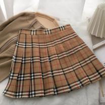 skirt Spring 2021 S,M,L,XL khaki Short skirt fresh High waist A-line skirt lattice Type A 18-24 years old 1-228-690 81% (inclusive) - 90% (inclusive) knitting acrylic fibres Pleated, zipper
