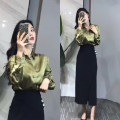 Fashion suit Summer 2021 S. M, l, XL, one size fits all Army green shirt + black skirt, army green shirt, black skirt