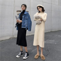 Dress Autumn of 2019 Apricot, black Average size Miniskirt Three piece set Long sleeves Half high collar High waist Solid color Socket other other Others 18-24 years old Type A 4656# 31% (inclusive) - 50% (inclusive) knitting polyester fiber