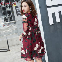 Women's large Spring 2021 violet Dress singleton  Sweet easy moderate Socket three quarter sleeve Plants and flowers Crew neck Medium length polyester fiber Three dimensional cutting routine Crimson Art Embroidery 96% and above Short skirt Princess Dress Lotus leaf edge princess
