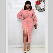 Dress Spring 2020 Pink M,L,XL Mid length dress singleton  Long sleeves V-neck High waist Solid color Socket Pencil skirt