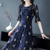 Dress Summer 2020 Navy, pink S [80-95 Jin], m [95-105 Jin], l [105-115 Jin], XL [115-125 Jin], 2XL [125-135 Jin], 3XL [135-145 Jin], 4XL [145-160 Jin], 5XL [160-180 Jin] longuette singleton  elbow sleeve commute Crew neck A-line skirt pagoda sleeve Others 40-49 years old Yusha printing Chiffon other