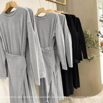 Dress Spring 2021 S,M,L longuette singleton  Long sleeves commute Crew neck Loose waist Solid color Socket other routine Others 25-29 years old Home only Simplicity More than 95% other other