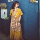 Dress Summer 2020 Yellow, black S,M,L,XL longuette singleton  Short sleeve V-neck Elastic waist Lace up, printed