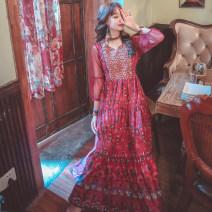 Dress Summer 2020 Red, yellow S,M,L,XL longuette singleton  elbow sleeve V-neck Elastic waist Socket Big swing Embroidery, stitching, mesh
