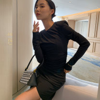 Dress Spring 2021 black S,M,L Short skirt singleton  Long sleeves commute Crew neck High waist Solid color Socket One pace skirt routine Breast wrapping 18-24 years old Type A Miss Moso Korean version DD103 31% (inclusive) - 50% (inclusive) knitting polyester fiber