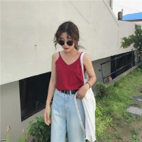Vest sling Summer of 2019 Average size singleton  routine easy Versatile camisole Solid color 18-24 years old 71% (inclusive) - 80% (inclusive) other Miss Moso 81g / m ^ 2 (including) - 100g / m ^ 2 (including)