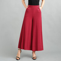 Casual pants XL,2XL,3XL,4XL Summer 2021 Ninth pants Wide leg pants High waist commute Thin money 35-39 years old 31% (inclusive) - 50% (inclusive) other Simplicity pocket spandex Asymmetry