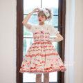 Lolita / soft girl / dress Magic tea party Red, black, light blue, light pink, light purple L,M,S Unlimited season, summer, spring and autumn Pre sale Lolita, soft girl, sweet