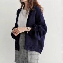 Wool knitwear Autumn of 2019 Average size Khaki, Navy, black, safety pants, white Long sleeves singleton  Cardigan other 81% (inclusive) - 90% (inclusive) Medium length routine commute easy V-neck routine Solid color Korean version Other / other