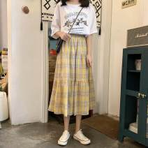 skirt Spring 2021 S,M,L,XL,XXL Blue, yellow Mid length dress Versatile High waist A-line skirt Type A 18-24 years old 30% and below other polyester fiber