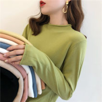 Wool knitwear Autumn 2020 Average size Apricot, white, green, blue, yellow, black, pink, khaki, white vest Long sleeves singleton  Socket other 31% (inclusive) - 50% (inclusive) commute Self cultivation Half height crew neck Solid color Korean version