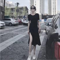 Dress Spring 2021 Black and white Leggings S,M,L,XL Short skirt singleton  Short sleeve commute Crew neck routine other