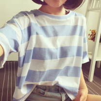 T-shirt Light blue, dark blue, gray, green, yellow, skin pink M,L,XL,2XL Summer 2021 Short sleeve Crew neck easy Regular routine commute polyester fiber 96% and above 18-24 years old Korean version youth Thick horizontal stripe Other / other printing