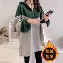 Dress Autumn 2020 Dark blue, green M,L,XL,2XL,3XL Mid length dress singleton  Long sleeves Socket 81% (inclusive) - 90% (inclusive)