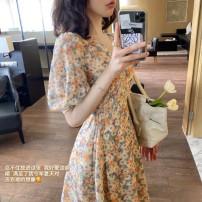 Dress Spring 2021 Apricot flower, pink flower, white Leggings S,M,L,XL,2XL Short skirt singleton  Short sleeve commute V-neck Decor puff sleeve Type A Chiffon