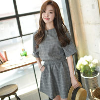 Dress Summer 2016 Dark gray, sky blue, lucky bag, random clothes S,M,L,XL,2XL Mid length dress singleton  elbow sleeve Sweet Crew neck High waist lattice Socket Lantern skirt routine Others 18-24 years old Type H 71% (inclusive) - 80% (inclusive) college