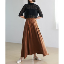 skirt Spring 2021 M, L Coffee Brown, elegant black longuette Versatile Natural waist A-line skirt Solid color Type A More than 95%
