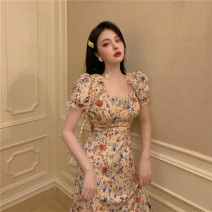 Dress Summer 2020 Yellow floral skirt S,M,L Middle-skirt singleton  Short sleeve commute square neck High waist Socket routine 18-24 years old Other / other Korean version 30% and below