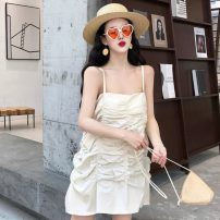 Dress Spring 2021 Apricot, black Average size Short skirt singleton  Sleeveless other Loose waist Solid color Socket other camisole 18-24 years old Type H Other / other fold ZJ267 30% and below other other