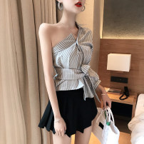 Fashion suit Spring 2020 Average size (160 / 84A) Slant shoulder stripe shirt, pleated black skirt pants 18-25 years old Other / other D2115