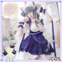 Cosplay women's wear suit goods in stock Over 14 years old Clothing pre-sale - free headwear Animation, original, film and television, games L,M,S,XL Iacos Lovely style, Gothic style, Maid Dress, imperial sister fan, otaku department, Republic of China style, Lolita Blue line Cheshire cos apparel