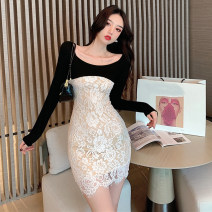 Dress Autumn 2020 Picture color S,M,L Short skirt singleton  Long sleeves commute V-neck middle-waisted Solid color Socket One pace skirt routine Breast wrapping 18-24 years old Type X Korean version Stitching, lace 71% (inclusive) - 80% (inclusive) brocade cotton