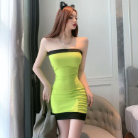 Dress Spring 2021 green Average size Short skirt singleton  Sleeveless commute One word collar middle-waisted Solid color Socket One pace skirt other Breast wrapping 25-29 years old Type X Korean version fold 51% (inclusive) - 70% (inclusive) brocade cotton